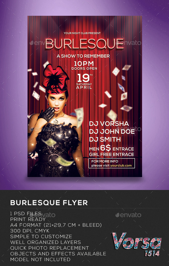 GraphicRiver Burlesque Flyer 10185586