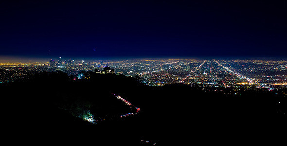 Downtown Los Angeles and Griffith Park at night