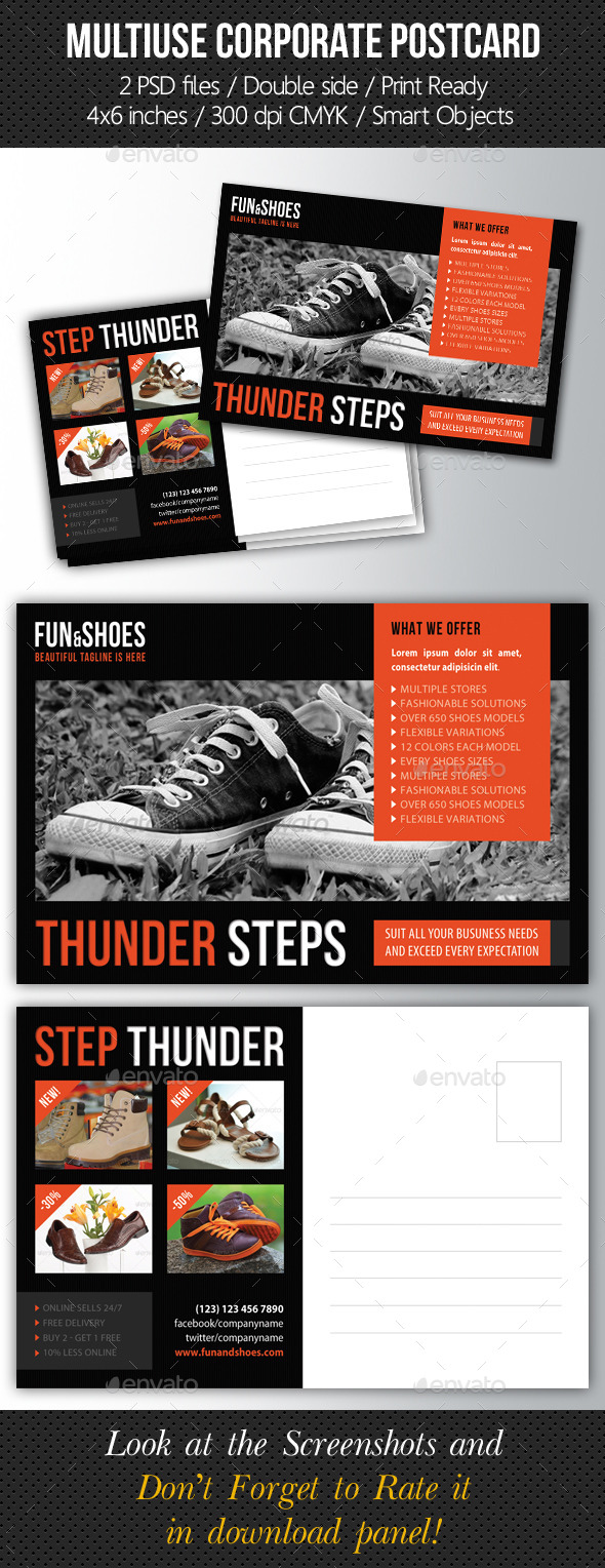 GraphicRiver Multiuse Corporate Postcard Template 10185604