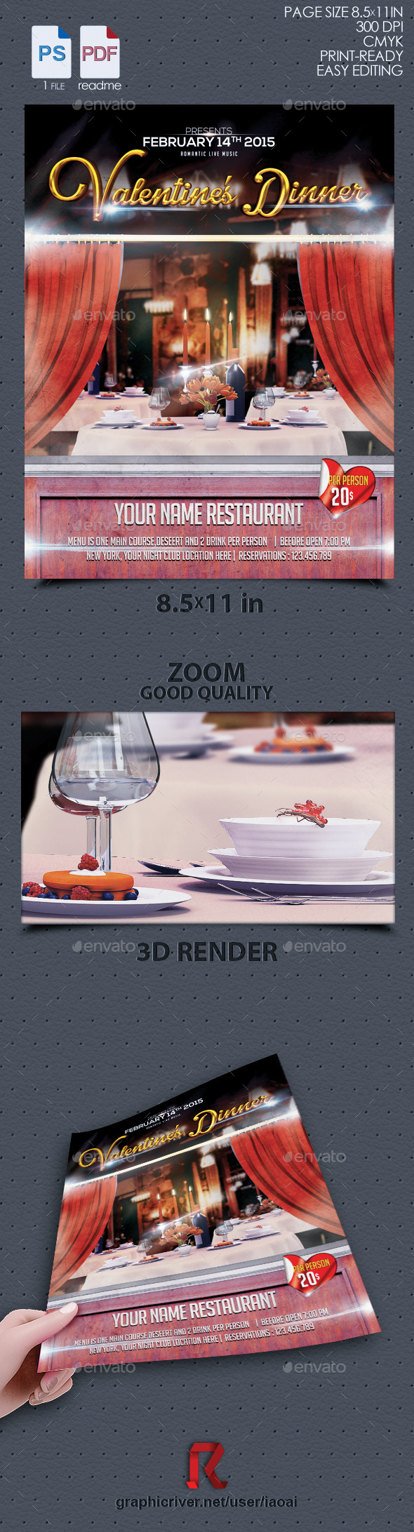 GraphicRiver Valentine dinner Flyer vol 3 10185623