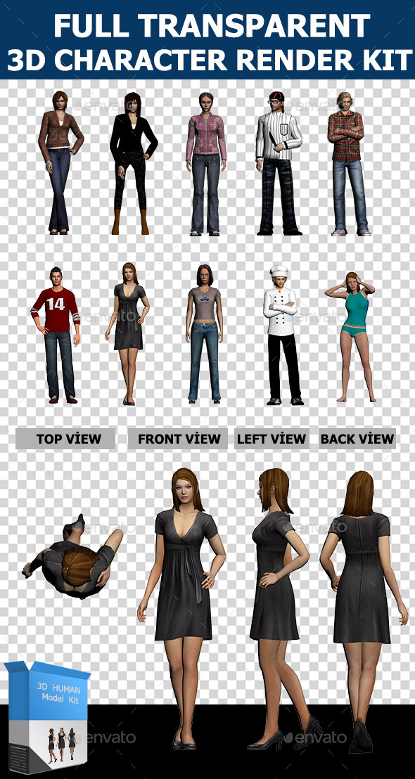 GraphicRiver 3D Human Character Collection Set 10185921