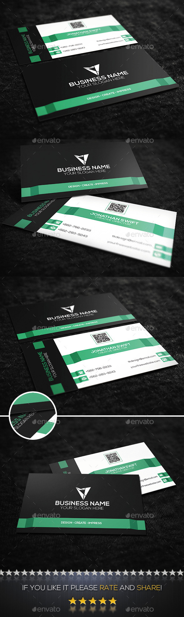 GraphicRiver Mint Green Corporate Business Card 10185938