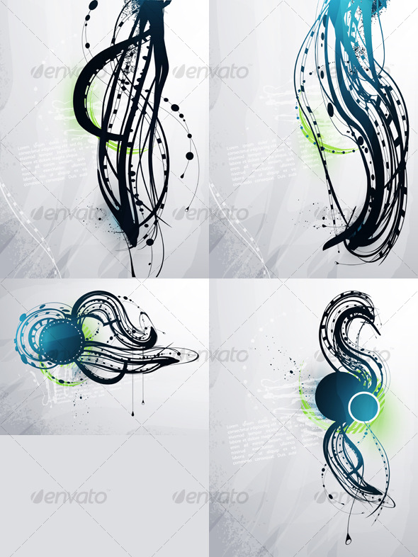 Abstract decorative elements on a light background - Abstract Conceptual