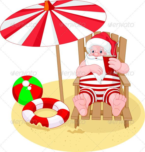 free clipart santa on the beach - photo #50
