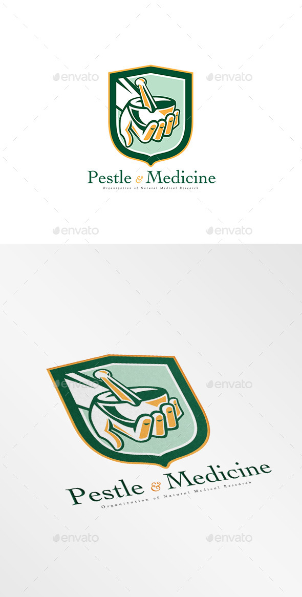 GraphicRiver Pestle and Medicine Medical Research Logo 10186234