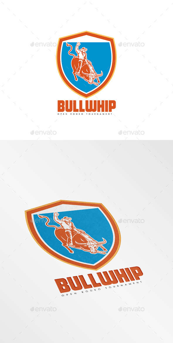 GraphicRiver Bullwhip Open Rodeo Tournament Logo 10186239