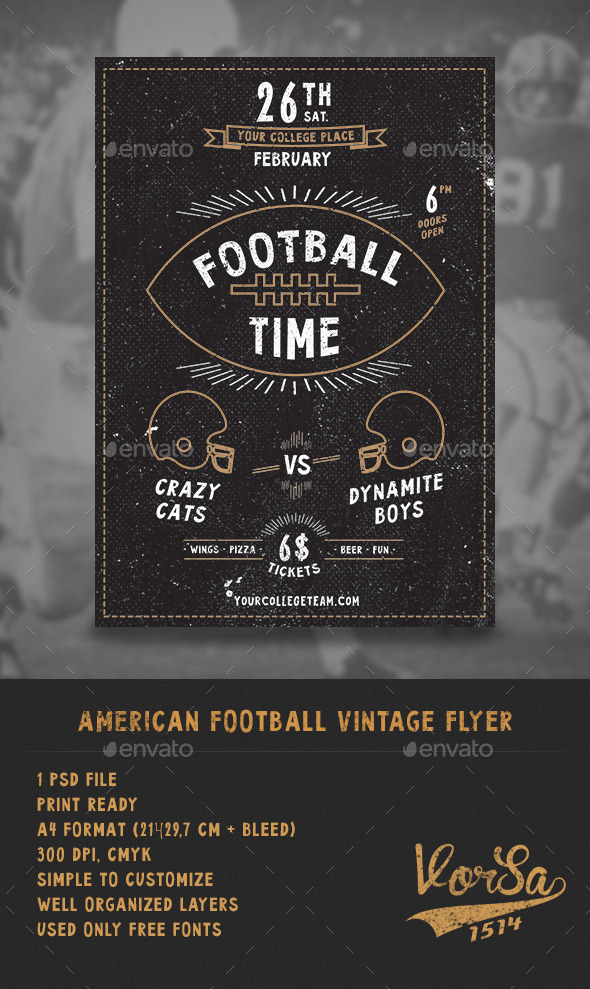 GraphicRiver American Football Vintage Flyer 10186240