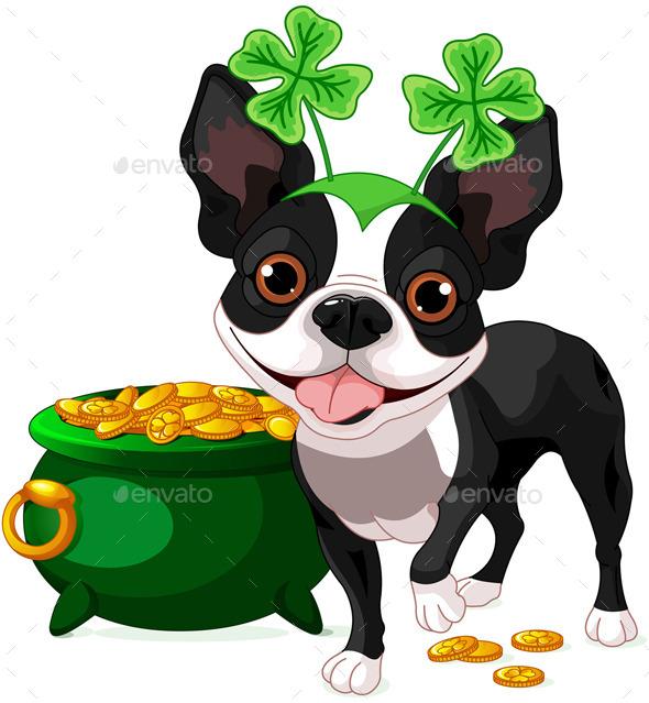 GraphicRiver Boston Terrier Celebrates Saint Patricks Day 10186254
