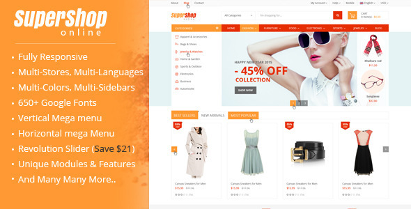ThemeForest SuperShop Multi-Purpose Responsive Prestashop Theme 10186257