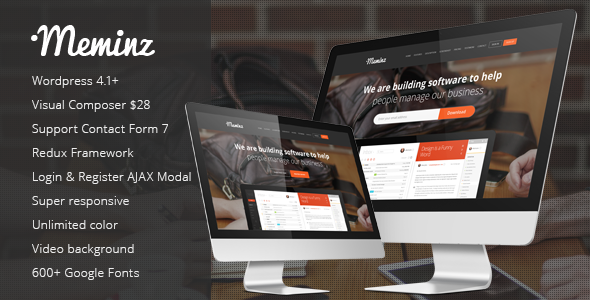 ThemeForest Meminz Landing Page Wordpress Theme 10113042