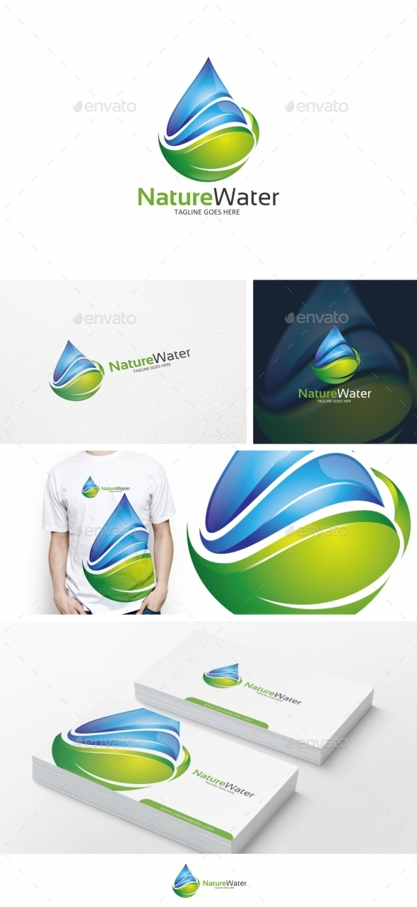 Water & Leaf Logo Template