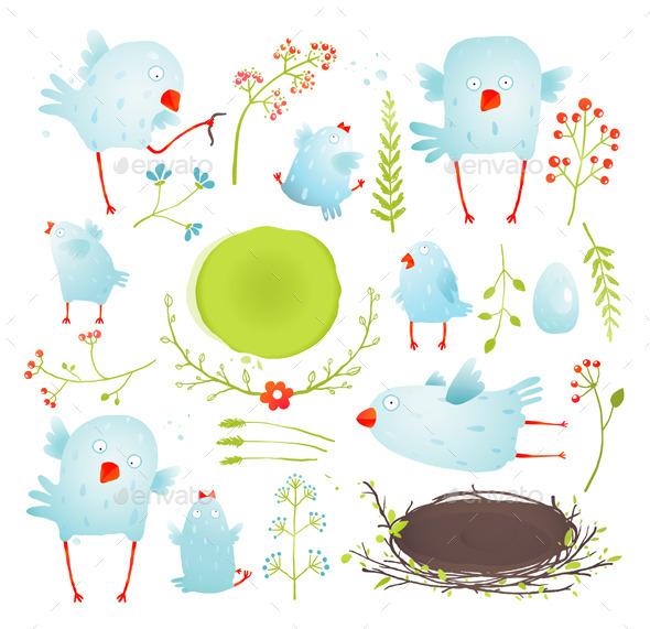 GraphicRiver Cartoon Fun and Baby Birds Collection 10186407