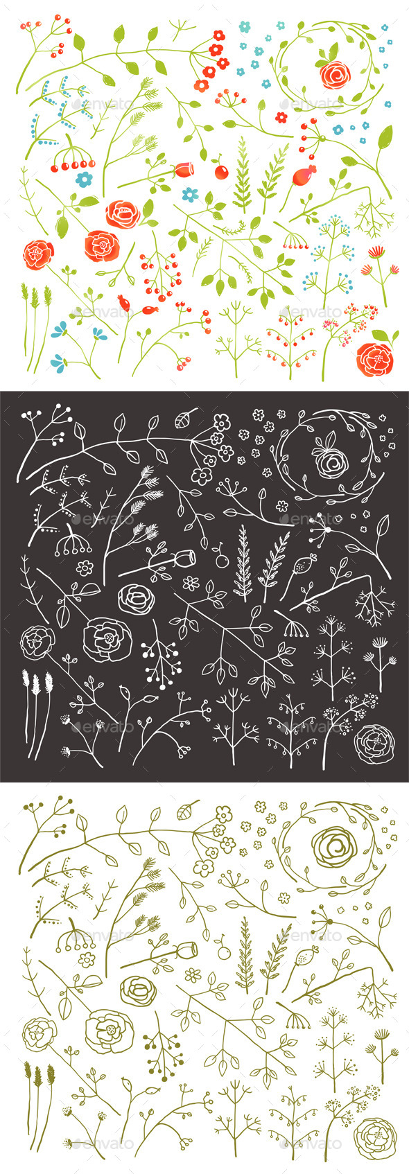 Floral Doodle Field Flowers and Plants Decoration
