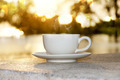 Silhouettes of morning coffee on the lake. - PhotoDune Item for Sale