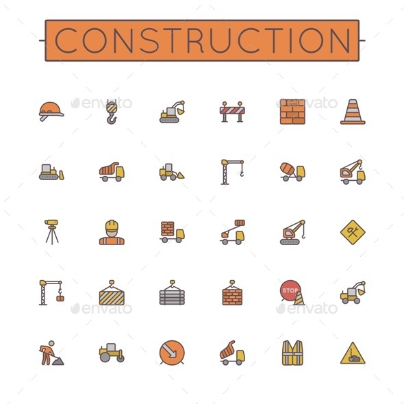 GraphicRiver Colored Construction Line Icons 10186516