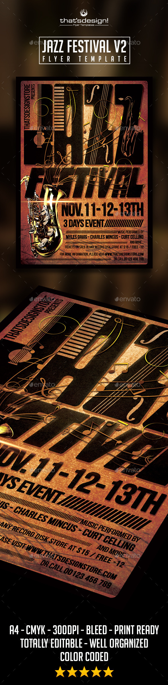 GraphicRiver Jazz Festival Flyer Template V2 10187470