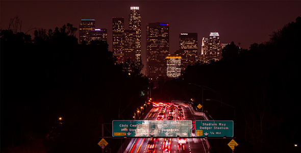 Downtown Los Angeles and Freeway at Night
