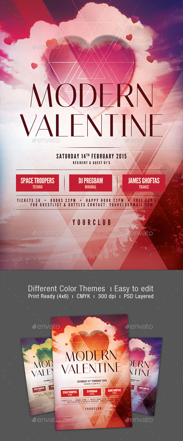 GraphicRiver Modern Valentine Flyer 10190295