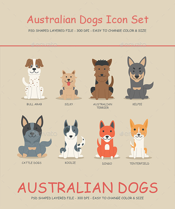 GraphicRiver Australian Dogs Icon set 01 10190369