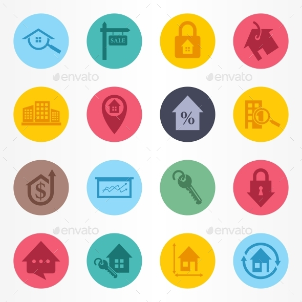 GraphicRiver Real Estate Circle Icons Set 10190577