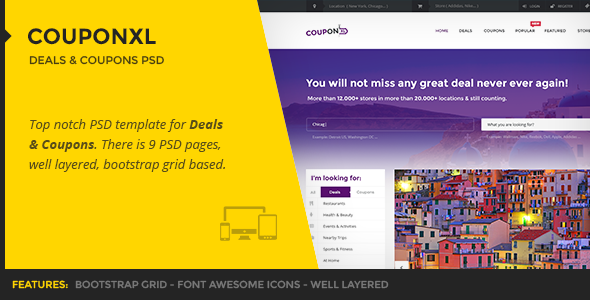 ThemeForest CouponXL Deals & Coupons PSD Template 10190816