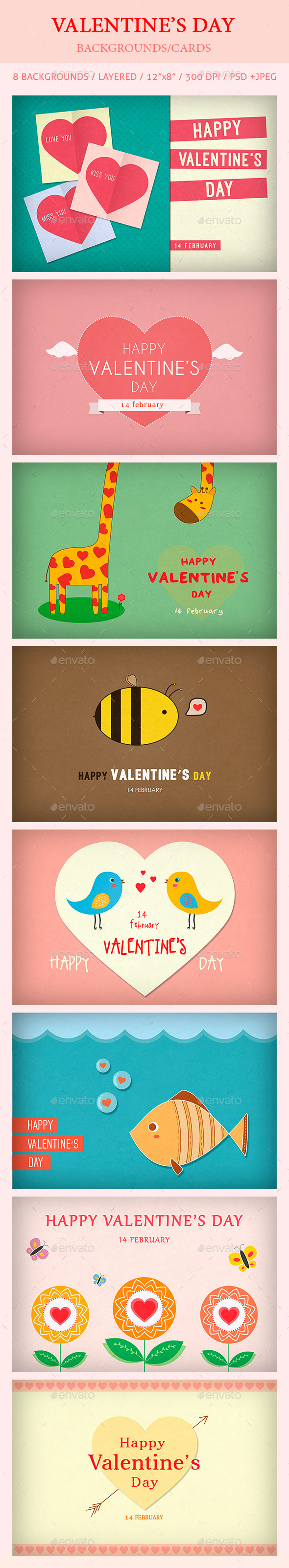 GraphicRiver Valentine s Day Backgrounds Card 10190824