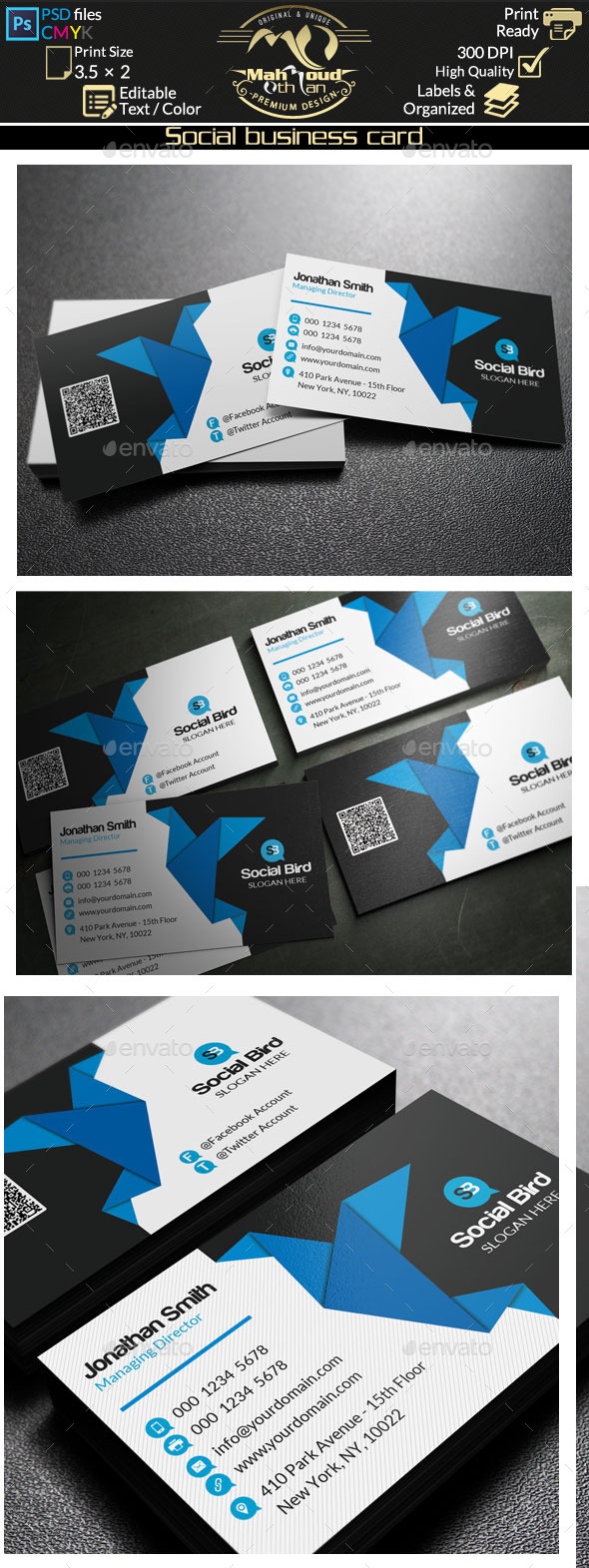 Social Organization Business Card Templates Designs - Social media business card template free