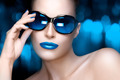 Fashion Model Woman in Blue Oversized Sunglasses. Colorful Makeu - PhotoDune Item for Sale