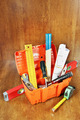 Toolbox with various working tools on a wooden table - PhotoDune Item for Sale