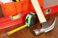Various working tools on a wooden table - PhotoDune Item for Sale