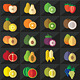 Fruits Icons Set Vector - GraphicRiver Item for Sale