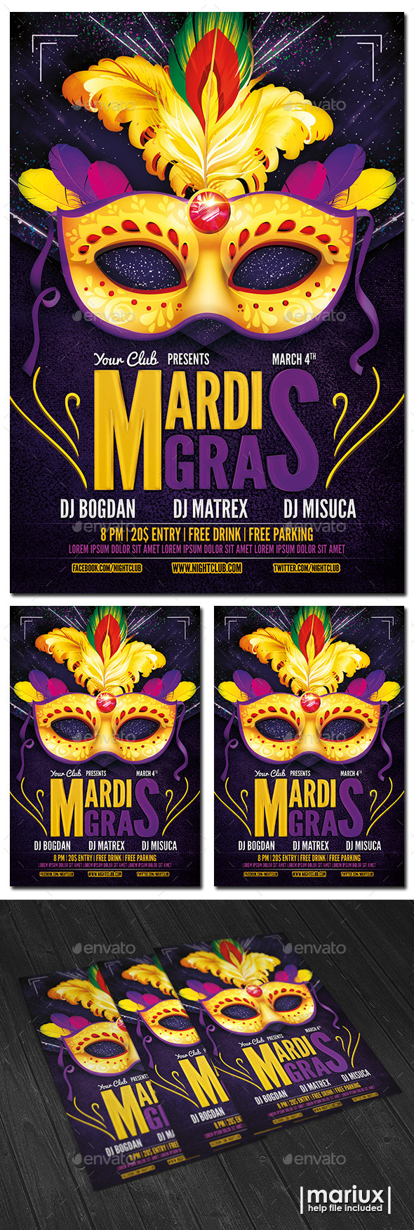 GraphicRiver Mardi Gras Party Flyer 10192262