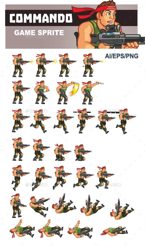 GraphicRiver Commando Game Sprite 10192293