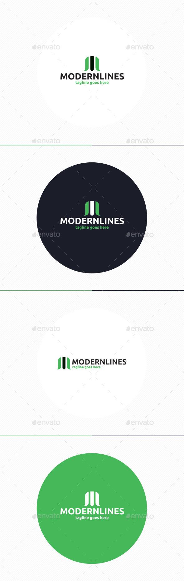 Modern Lines Logo Letter M
