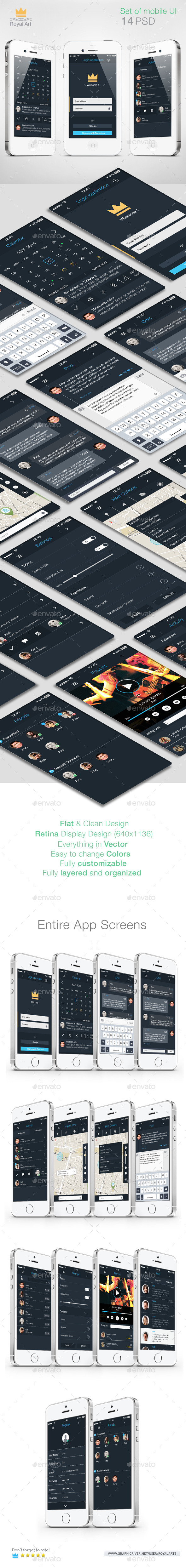 GraphicRiver Mobile UI KIT Flat 10149135