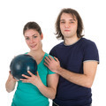 Cheerful young man and woman with bowling ball - PhotoDune Item for Sale