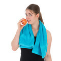 Cheerful fitness woman eating a red apple - PhotoDune Item for Sale