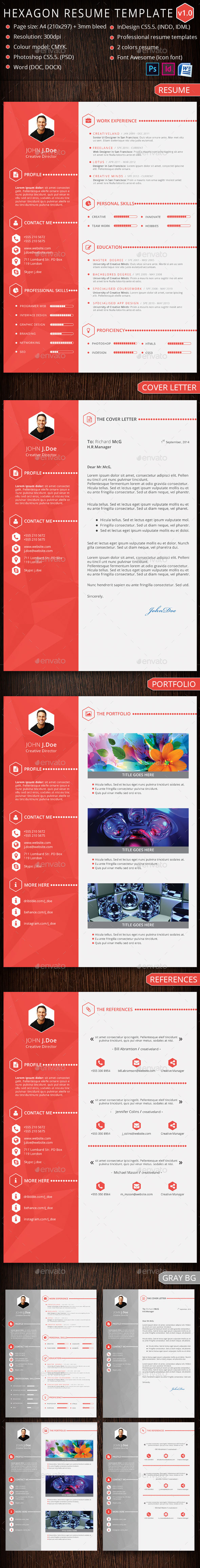 GraphicRiver Hexagon Resume Template 10144299