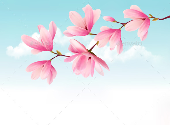 GraphicRiver Valentine Background with Pink Flowers 10195754