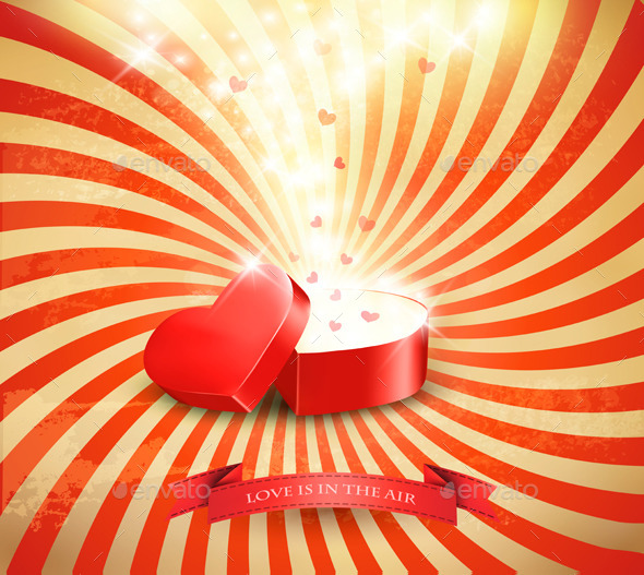 GraphicRiver Valentines Day Background with an Open Red Box 10195767