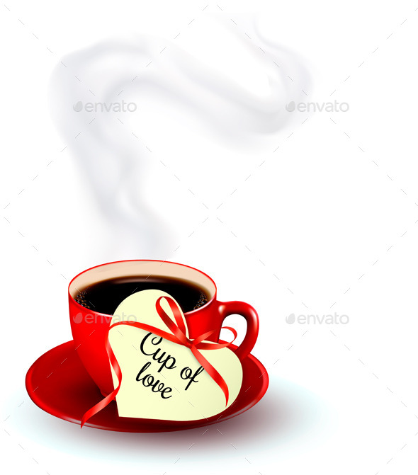 GraphicRiver Red Cup of Coffee with a Heart Shaped Tag 10195768