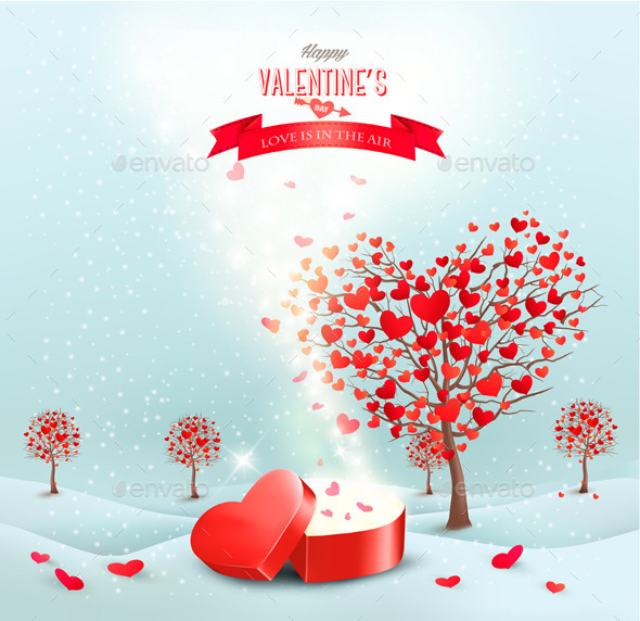 GraphicRiver Valentines Day Landscape with Heart Shaped Trees 10195792