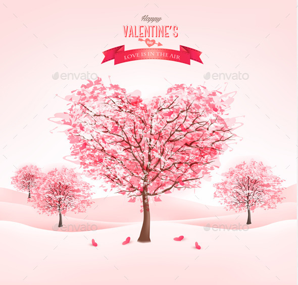 GraphicRiver Pink Heart-Shaped Sakura Trees for Valentines Day 10195794