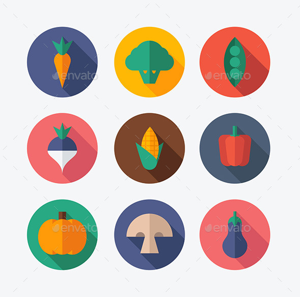 GraphicRiver Vegetable Flat Icons 10196023