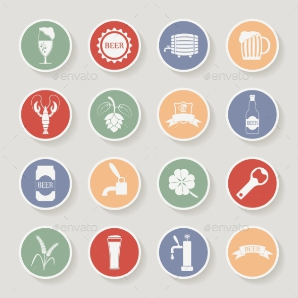 GraphicRiver Round Beer Icons Set 10196935
