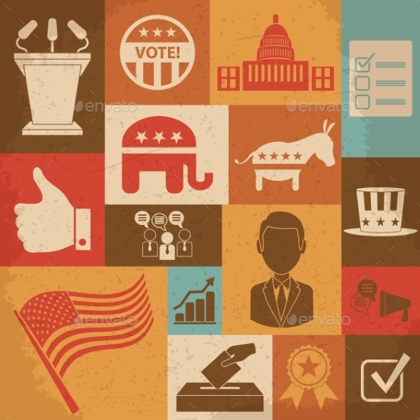 GraphicRiver Retro Political Election Campaign Icons Set 10196941