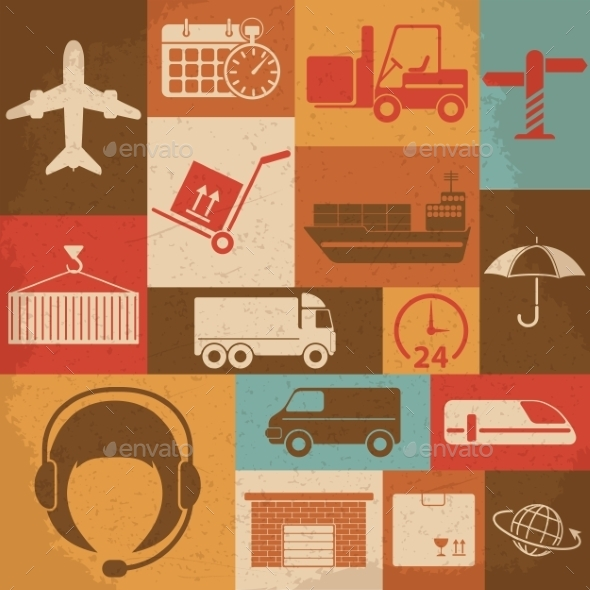 GraphicRiver Shipping and Logistics Retro Icons 10196943
