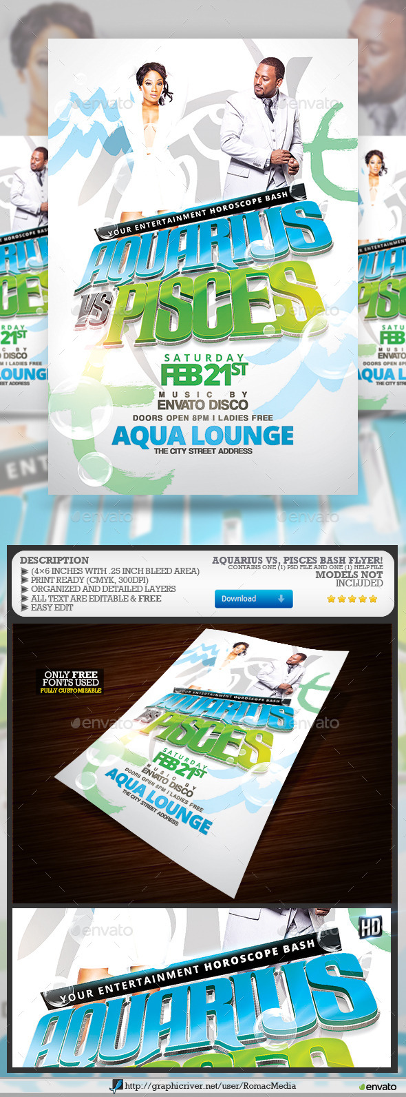 GraphicRiver Aquarius vs Pisces Party 10197176