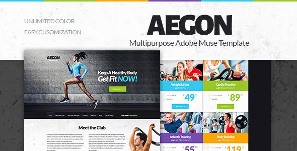 Aegon -  Gym/Fitness Club Adobe Muse Template