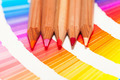 red and pink colored pencils and color chart of all colors - PhotoDune Item for Sale